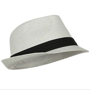 Other - Paper fedora hat with black trim